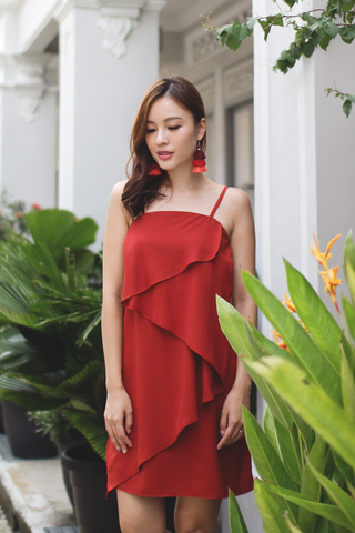 Zarla Waterfall Dress (Burnt Red)