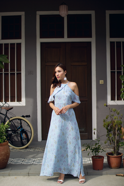 Fayae Floral Maxi Dress (Sky)