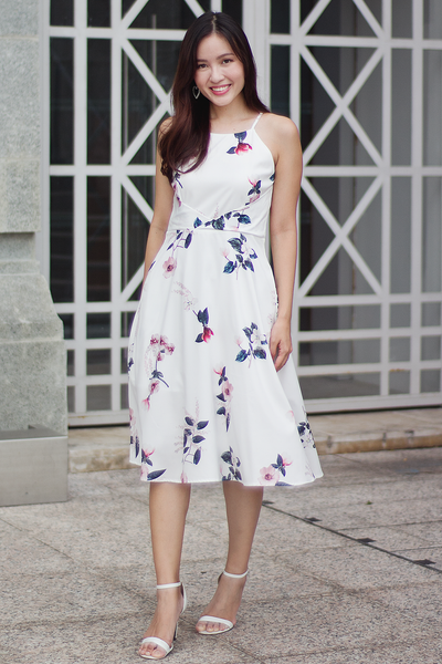 Kerrian Floral Midi Dress (White)