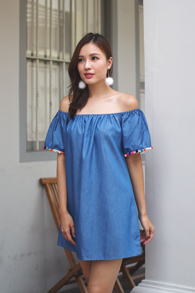 Teisa Off-Shoulder Pom Dress