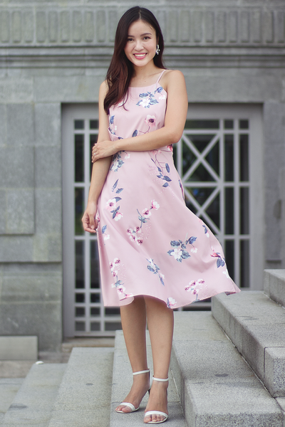 Kerrian Floral Midi Dress (Blush)