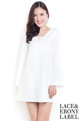 Balivia Boho Bell-Sleeves Dress (White)