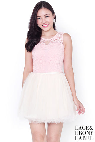 Cyndella Lace Crop Top (Powder Pink)
