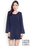 Balivia Boho Bell-Sleeves Dress (Royal Navy)