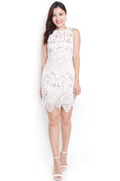 Asmine Lace Fitted Dress (White)