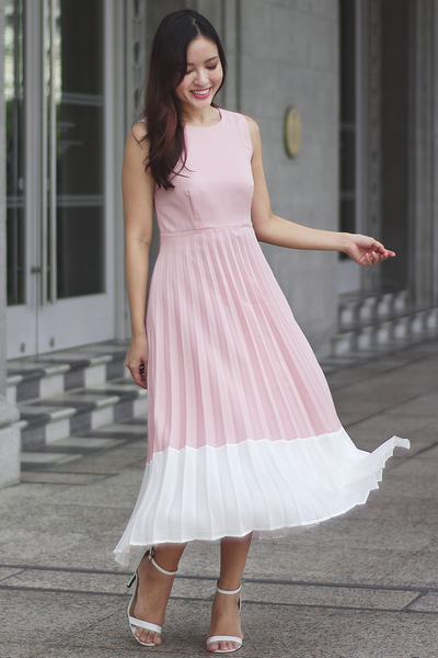 Mercier Pleated Dress (Pink)