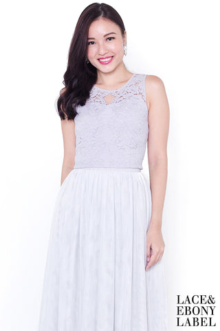 Cyndella Lace Crop Top (Lilac Grey)