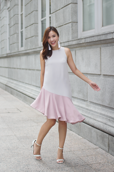 Geralle Colourblock Dress (Dusty Pastel)