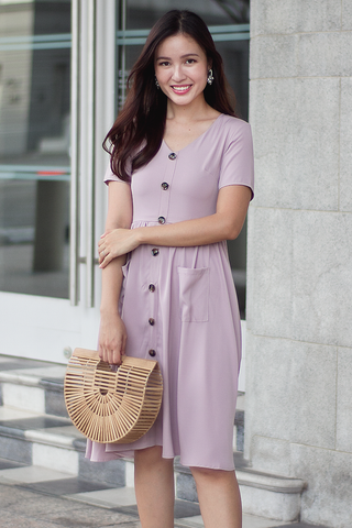 Hildi Button Dress (Pale Blush)