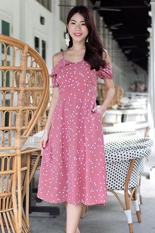 Jassie Dotted Midi Dress (Pink)