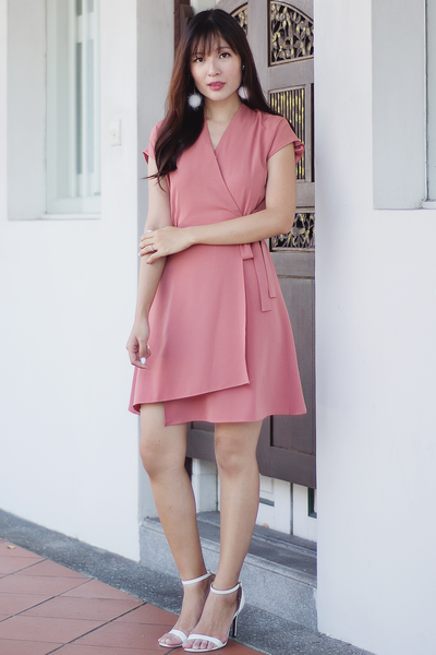 Tashia Wrap Dress (Pink)