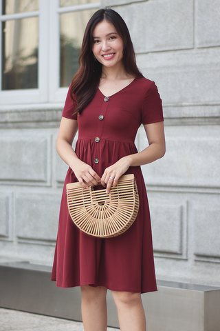 Hildi Button Dress (Wine)