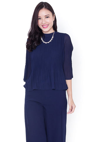 Larra Pleated Blouse (Navy)