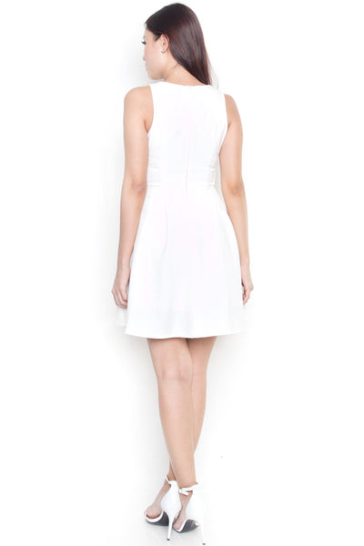 Aylen Side Swept Pleat Dress (White)