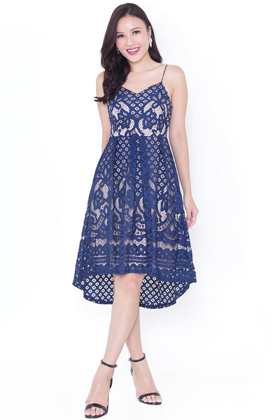 Marlotte Lace Hi-Lo Dress (Navy)