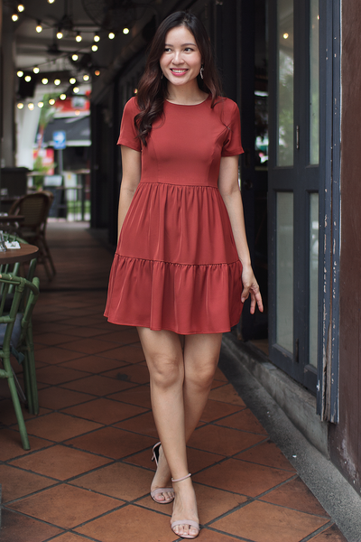 Rainie Babydoll Dress (Brick)