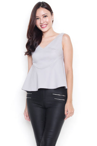 Strass Fit & Flare Top (Grey)