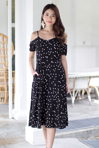 Jassie Dotted Midi Dress (Black)