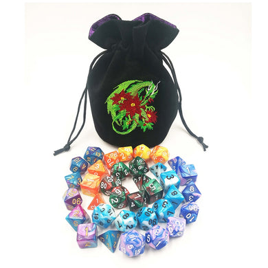 Embroidered Dice Bag + 5 Sets of Dice!