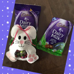 Treat Bag - Easter Bunny - Dark Purple With Light Pink Feet