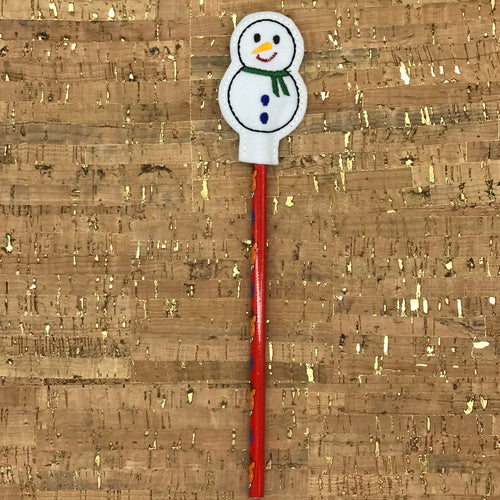 Pencil Topper - Snowman - Blue