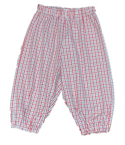 Crimson/Gray Gingham Bubble Pants