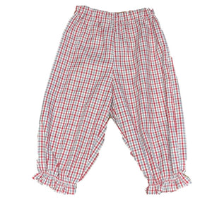 Crimson/Gray Gingham Ruffled Bubble Pants