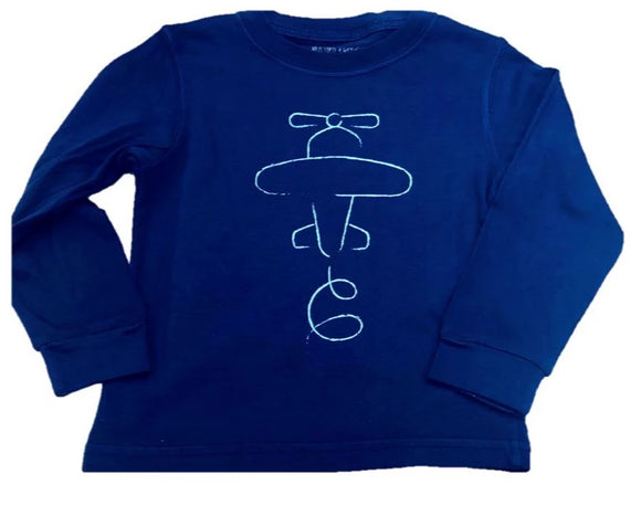 Long-Sleeve Navy Airplane T-Shirt