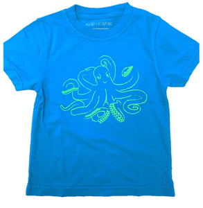 Short-Sleeve Blue Octopus T-Shirt