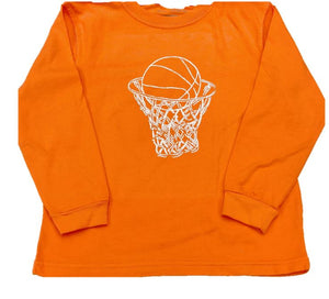 Long-Sleeve Orange Basketball T-Shirt