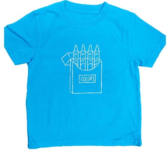 Short-Sleeve Lagoon Blue Crayons T-Shirt