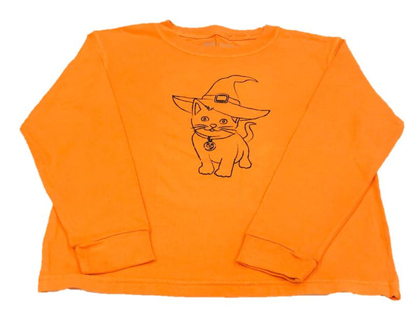 Long-Sleeve Orange Halloween Cat T-Shirt