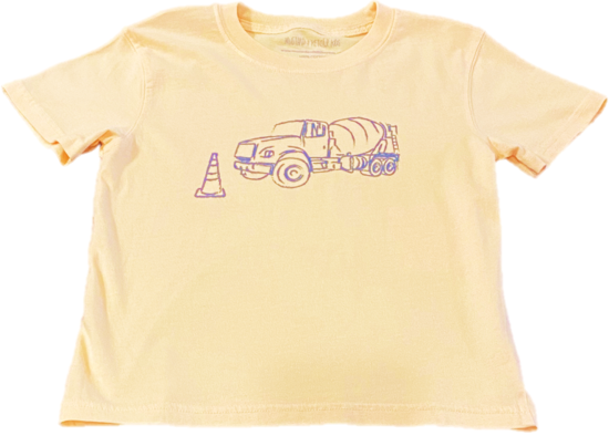 Short-Sleeve Yellow Cement Truck T-Shirt