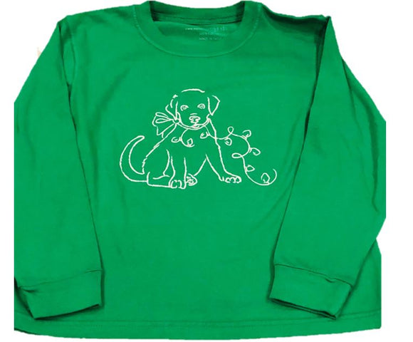 Long-Sleeve Green Christmas Lab T-Shirt
