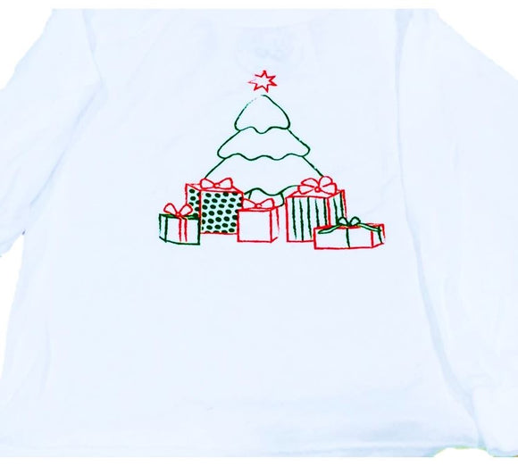 Long-Sleeve White Christmas Tree T-Shirt