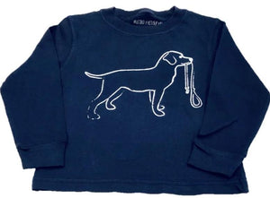 Long-Sleeve Navy Dog with Leash T-Shirt