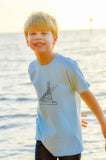 Short-Sleeve Light Blue/Navy Sport Fishing Boat Tee