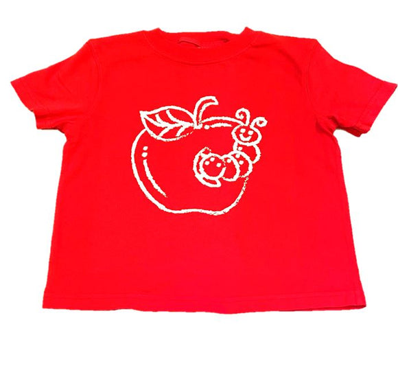 Short-Sleeve Red Apple with Worm T-Shirt