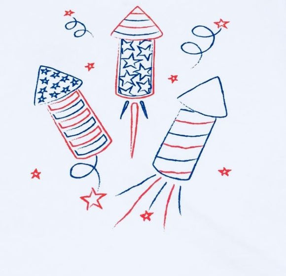 Short-Sleeve White Firecracker T-Shirt