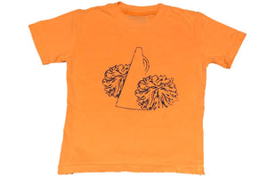 Short-Sleeve Orange/Navy Pom Pom T-Shirt