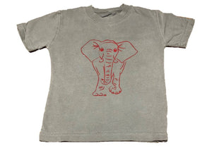 Short-Sleeve Gray/Crimson Elephant T-Shirt