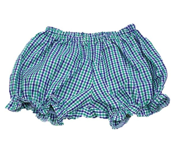 Navy/Green Girls Ruffled Gingham Shorts