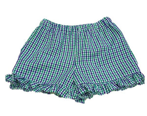 Navy/Green Girls Ruffle Gingham Bloomers