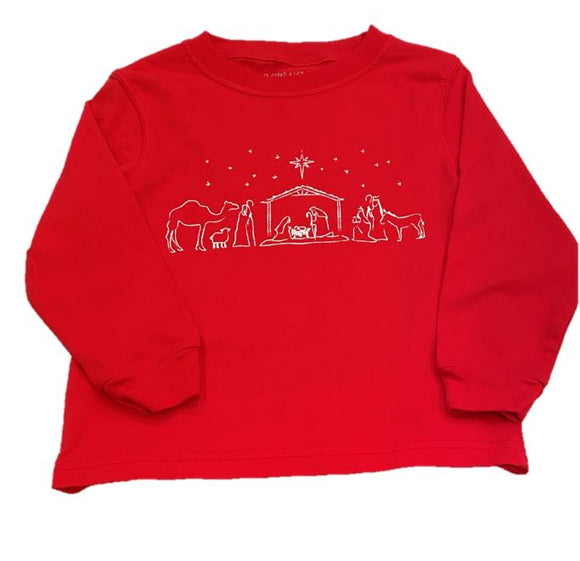 Long-Sleeve Red Nativity T-Shirt