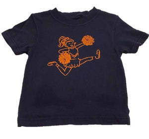 Short-Sleeve Navy/Orange Cheerleader T-Shirt