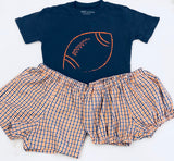 Short-Sleeve Navy/Orange Football T-Shirt
