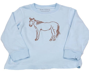 Long-Sleeve Light Blue Horse T-Shirt
