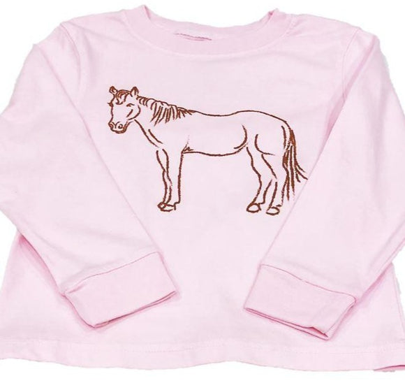 Long-Sleeve Light Pink Horse T-Shirt