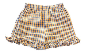Orange/Navy Ruffled Gingham Shorts