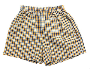 Navy/Orange Gingham Shorts